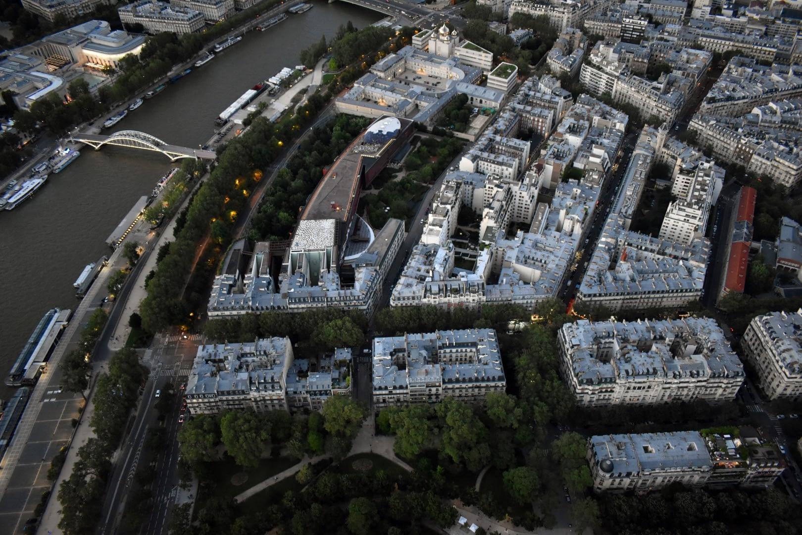 Quai Branly, top of the Eiffel Tower, Paris
