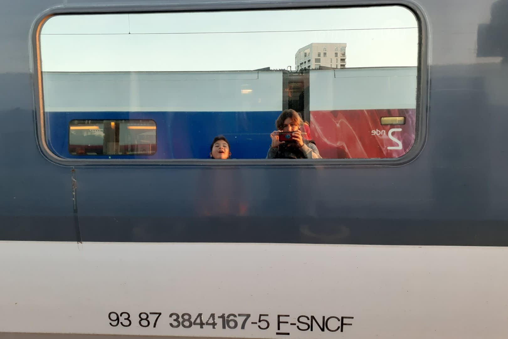 Boarding the Nantes-Charles de Gaulle aiport train