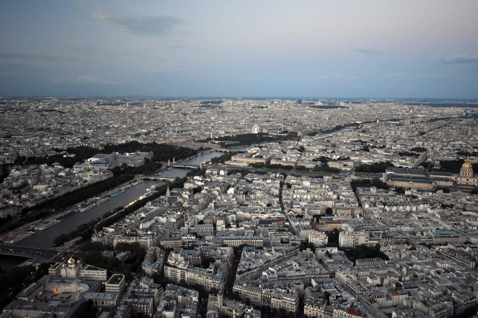 Louvre and Les Invalides, top of the Eiffel Tower, Paris