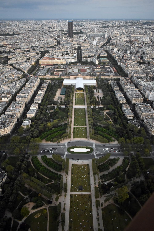 Champs de Mars, top of the Eiffel Tower, Paris