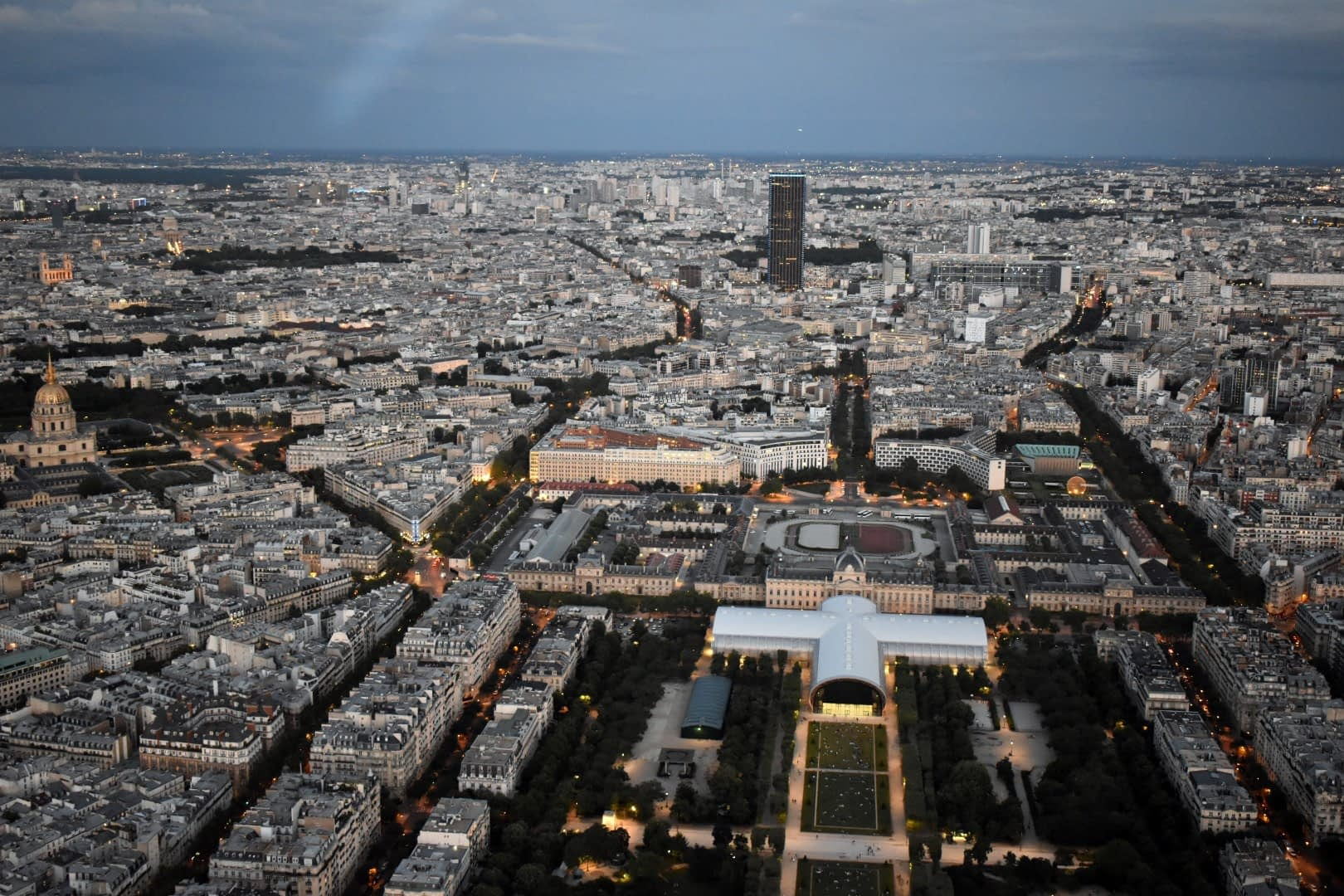 Champ de Mars, top of the Eiffel Tower, Paris