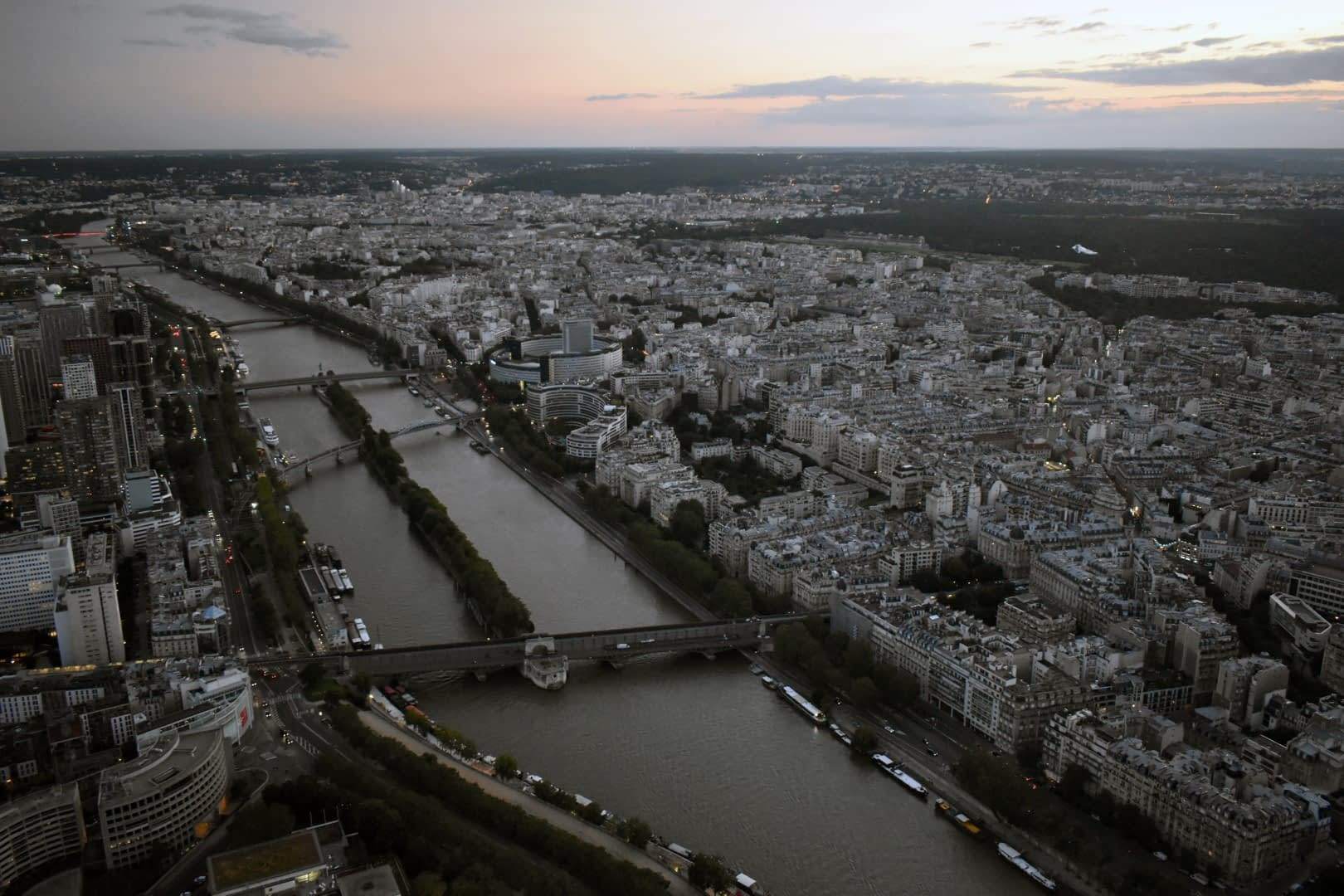 Rive droite and rive gauche, top of the Eiffel Tower, Paris