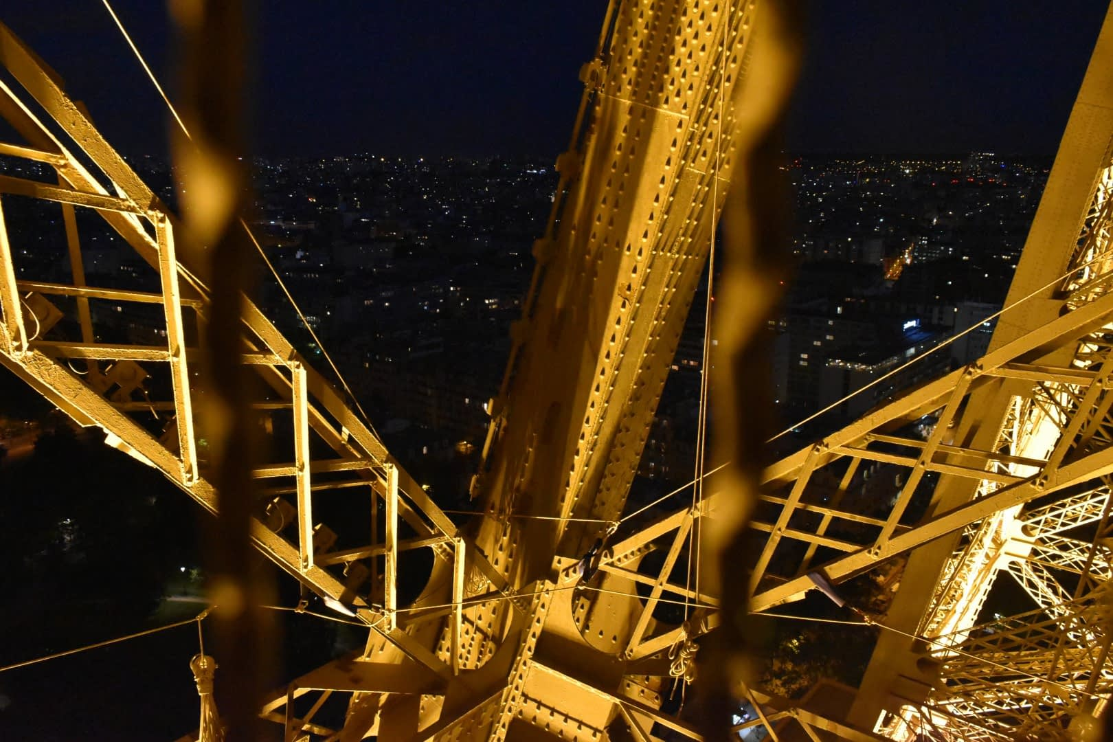 Stairs from the second floor to the bottom of the Eiffel Tower, Paris