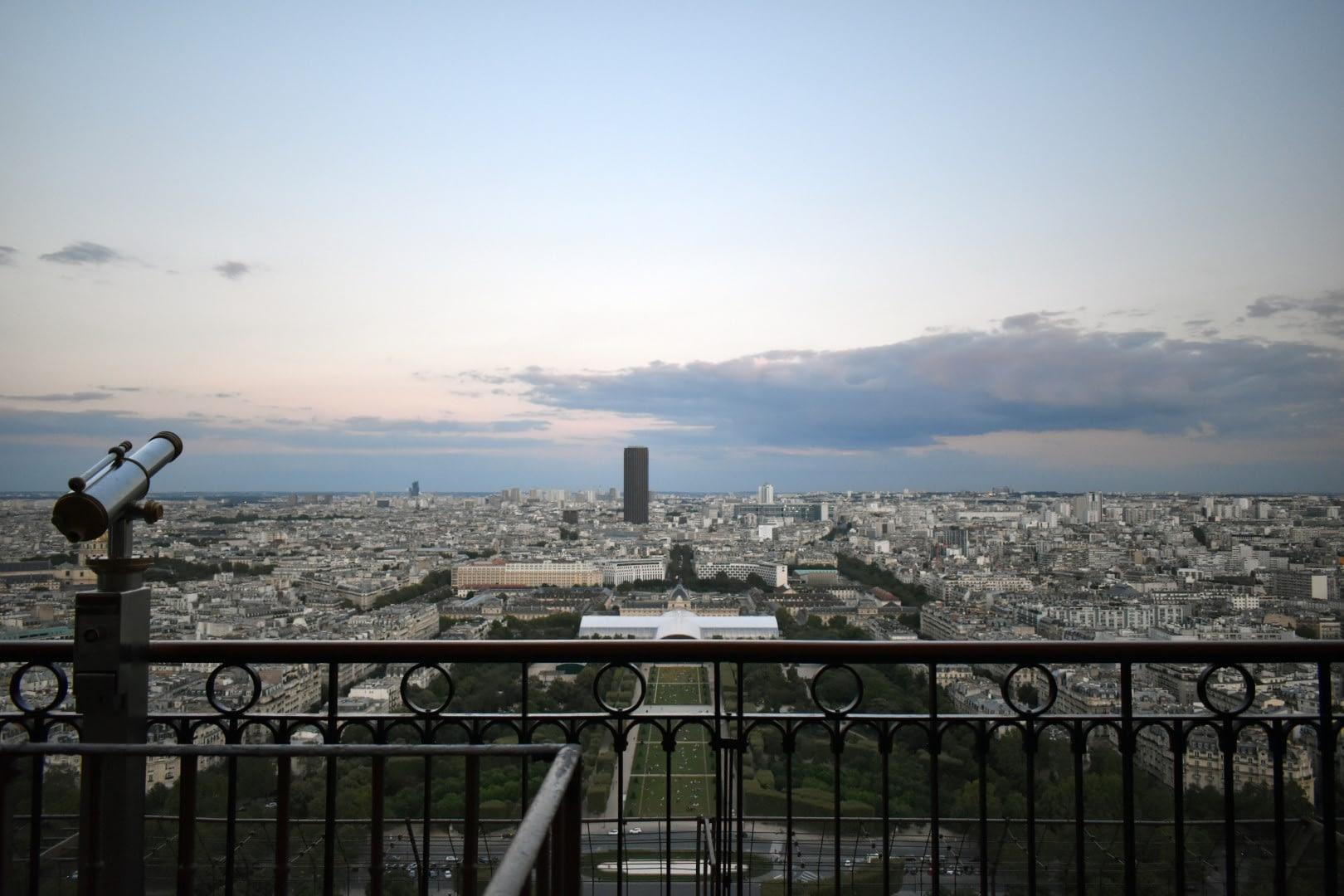 Champs de Mars and Tour Montparnasse from the second floor, Eiffel Tower, Paris
