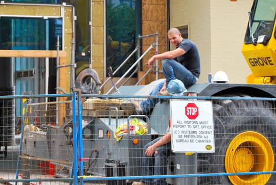 Construction Workers on a Break on Metcalfe Street