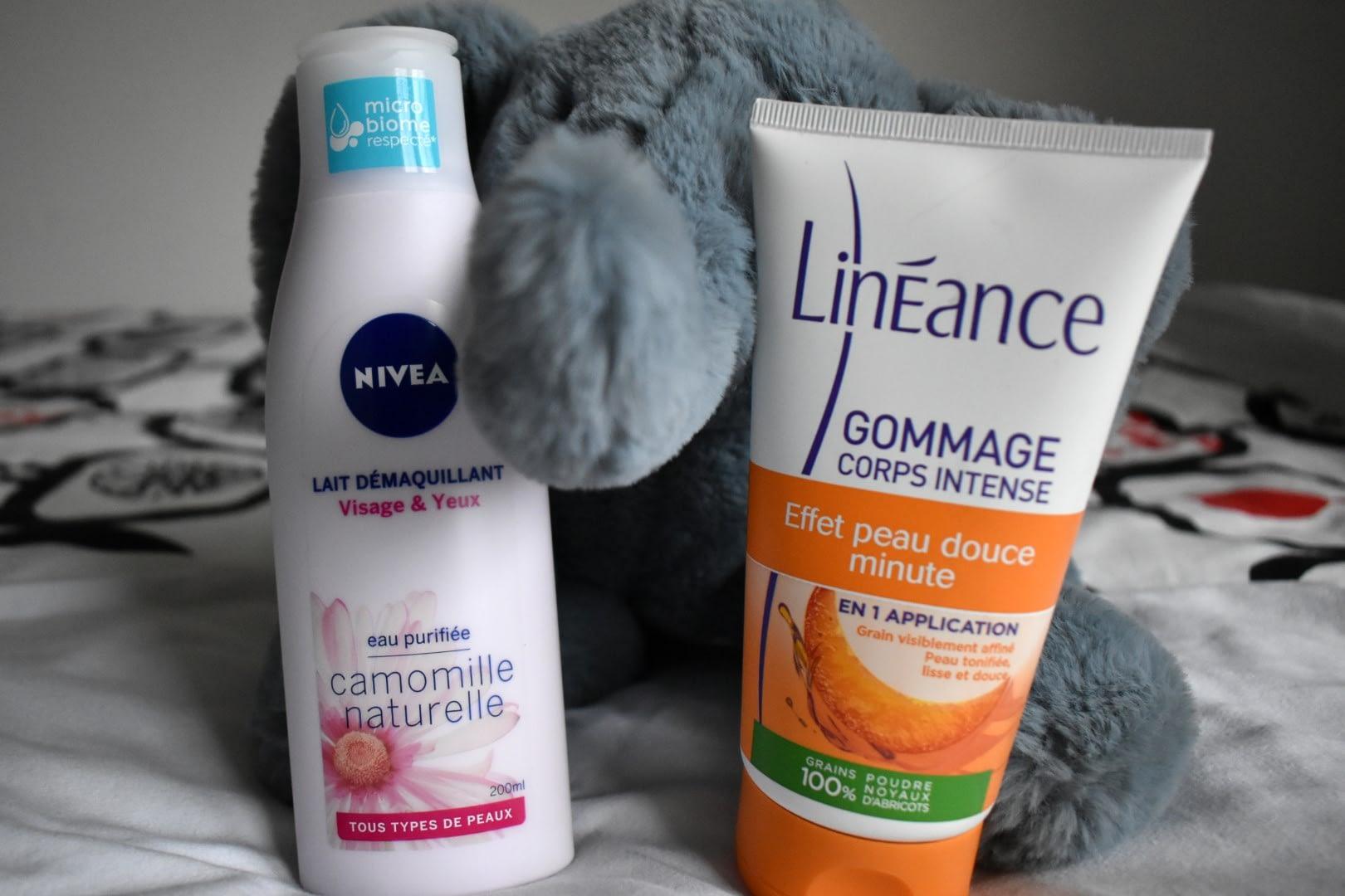 Nivéa makeup remover and Linéance body scrub